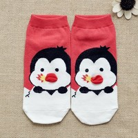 FunShop Woman's Penguin and Duck Pattern Cotton Ankel Socks in 2 Colors F1104