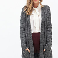 FOREVER 21 Open-Front Cable Knit Cardigan Charcoal