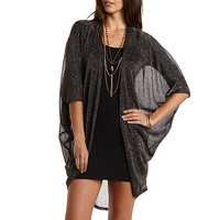 Metallic Shimmer Duster Cocoon Cardigan - Navy Blue Cmb