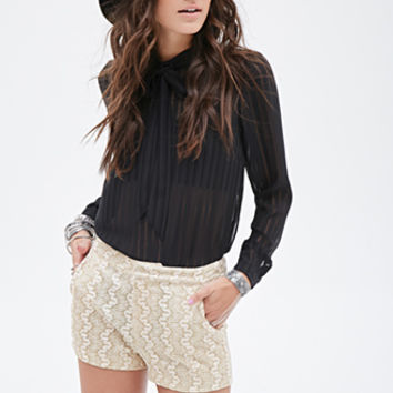 FOREVER 21 Abstract-Embroidered Glitter Shorts Gold