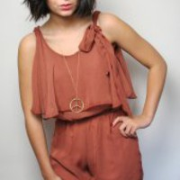 PrettySunday ? Rusty Abby tie playsuit 2856