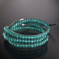 Chan Luu deep aqua glass and green leather wrap bracelet at Bluefly