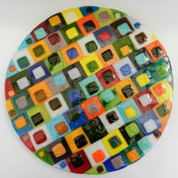 Lazy Susan tray  fused glass hand made by dalit glass