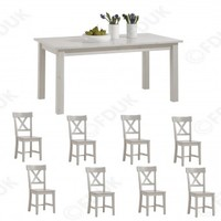 Steens Furniture - Steens Monaco White Extending Dining Table with 8 Chair