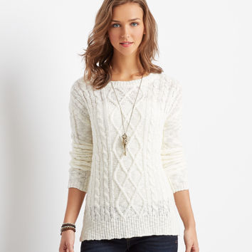 Aeropostale  Solid Cable-Knit Sweater