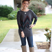Off the Grid Aztec Tunic - Charcoal