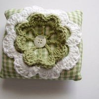 Pincushion, mini pillow made of gingham fabric and cotton yarn with crochet flower applique, Green, white