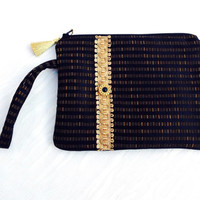 Black evening purse, Black hand purse, Evening black bag, Evening gold bag,Black wristlet,Black wrist-let, Gold clutch bag, Gold Evening bag
