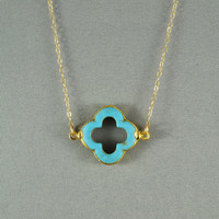 Turquoise Quatrefoil Clover Necklace, 24K Gold Edged, 14K Gold Filled Chain, Feminine, Eye Catching, Beautiful  Necklace