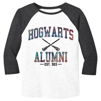 Hogwarts Alumni Galaxy Mens Baseball Shirt - White Body-Black Sleeves