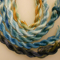Perle Fine, Blue, Seascape, 5 pack, Yarn, Serendipity, Mixed Media, Textile Art, Fiber Art, Hand dyed in the UK