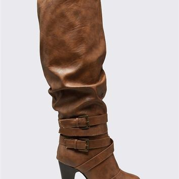 Twisted Ruched Wide Heel Boots