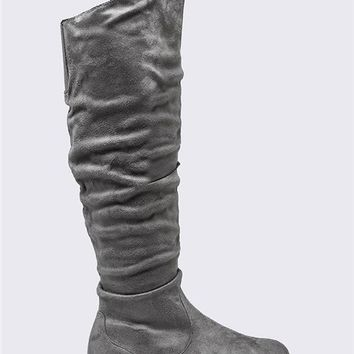Twisted Over the Knee Suede Wide Boots