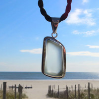 Pale Aqua Sterling Silver Sea Glass Necklace Red by Wave of Life