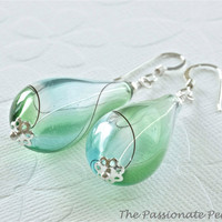 Blown Glass Earrings, Green Earrings, Murano Glass Jewelry, Sterling Silver Jewelry