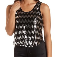 Sequin Chevron Tank Top by Charlotte Russe - Black
