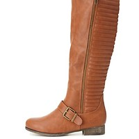 Quilted Zip-Up Riding Boots by Charlotte Russe - Cognac