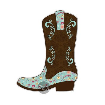 Cowgirl Boot Sticker Car Decal Laptop Decal Bumper Sticker Country Western Boot Boho Cute Car Decal Brown Flowers Teal Horse Cowboy Boots
