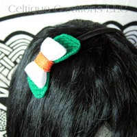 Irish Flag Hair Bow Headband Handmade Tricolor Celtic St Patrick's Day