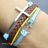 silvery cross bracelet anchor bracelet brown leather bracelet blue rope bracelet-N551