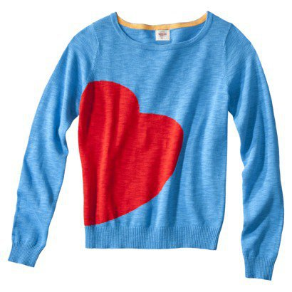Mossimo Supply Co. Juniors Long Sleeve Heart Sweater - Blue
