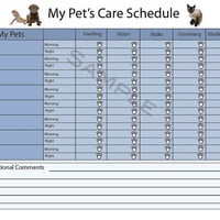 Personalized Daily Pet Care Schedule - PDF File