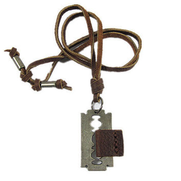 soft leather necklace,metal pendant men leather long necklace, women leather necklace   XL122