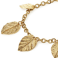 FOREVER 21 Leaf Charm Bracelet Antic Gold One