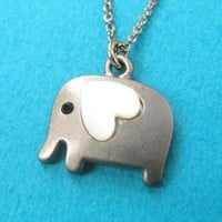 Dotoly | Small Elephant Animal Charm Necklace in Dark Silver with Heart - ALLERGY FREE | Online Store Powered by Storenvy