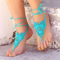 Turquoise Crochet  barefoot sandals, leg accessories, mint  nude shoes,  victorian lace, sexy,  yoga, anklet , steampunk sandals, beach pool