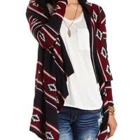 Aztec Cascade Cardigan Sweater by Charlotte Russe - Burgundy Cmb