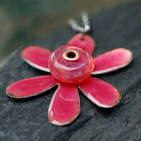 Enamel Flower Boro Glass Bead Pendant, Necklace, Copper, Pink Enameled Jewelry - Funky Flower