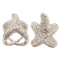 Silver Metal Rhinestone Starfish Ring - Unique Vintage - Homecoming Dresses, Pinup & Prom Dresses.