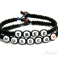Bracelets for Nature Lovers, Black Tree Hugger Bracelets, Macrame Hemp Jewelry