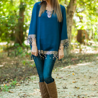 Golden Flower Child Blouse, Navy