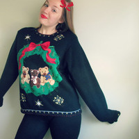Teddy Bear Wreathe Ugly Christmas Sweater