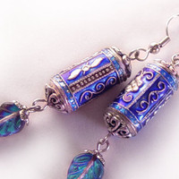 Blue cloisonne dangling earrings