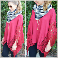 Smitten For You Burgundy Fringe Poncho Top