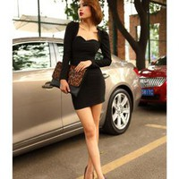 Bqueen Sexy low-cut Slim Dress Black FQ265H