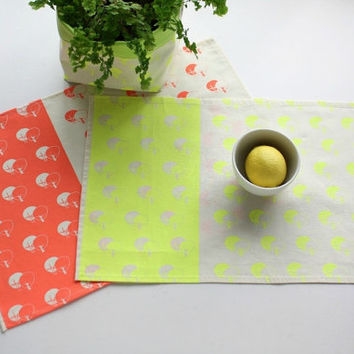 Neon Placemats set x2 - Coral or yellow handprinted cotton placemats -