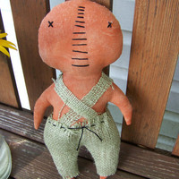 Primitive Pumpkin Man Fabric Decor/Doll/Shelf Sitter Fall Decoration