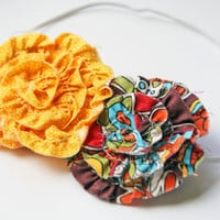 Yellow, Brown and Orange Double Rosette Headband/ Baby/Toddler/Teen/Adult