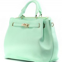 Mint Front Lock Shoulder Bag by Chic+ - Retro, Indie and Unique Fashion