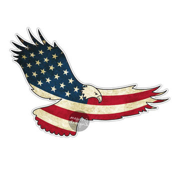 American Flag Eagle Car Decal Sticker: Patriotic USA Bumper Sticker Laptop Decal America Stars Stripes Red White Blue Grunge Men Eagle