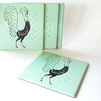 Vintage Coasters /  Hanging Rooster Trivet / Mint Green