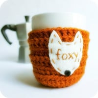 Fox Funny Coffee Mug Cozy Tea Cup foxy burnt orange brown fall autumn crochet handmade