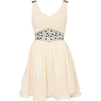 cream little mistress embellished prom dress