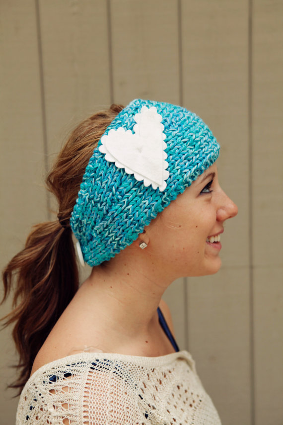 Aqua Knitted Headband