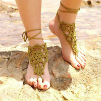 Crochet Khaki Barefoot Sandals, Nude shoes,  Foot jewelry,Wedding, Victorian Lace, Sexy, Yoga, Anklet , Bellydance, Steampunk, Beach Pool