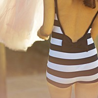Striped Retro Playsuit by ouma on Etsy